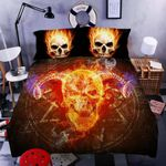 Skull Fire Printed Bedding Set Bedroom Decor