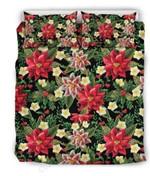 Poinsettia Pattern Printed Bedding Set Bedroom Decor