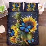 Butterfly Sunflower Printed Bedding Set Bedroom Decor