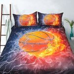 Basketball Fire Printed Bedding Set Bedroom Decor