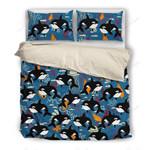 Black Dolphin Pattern Printed Bedding Set Bedroom Decor