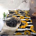 Pug Sunflower Pattern Printed Bedding Set Bedroom Decor