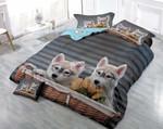 Two Husky Puppies Printed Bedding Set Bedroom Decor