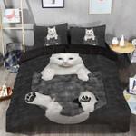 Cat White In Pocket Printed Bedding Set Bedroom Decor
