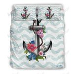 Hibiscus Flower Anchor Printed Bedding Set Bedroom Decor