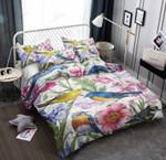 Bird Flower Background Printed Bedding Set Bedroom Decor