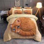 Yellow Cat Lying Printed Bedding Set Bedroom Decor