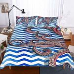 Octopus Blue And White Zigzag Printed Bedding Set Bedroom Decor