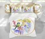 Embroidered Bird Printed Bedding Set Bedroom Decor