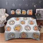 Pomeranian Cartoon Pattern Printed Bedding Set Bedroom Decor