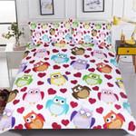 Owls Cute Heart Printed Bedding Set Bedroom Decor