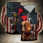 Firefighter Lion Proud America Flag 3D Hoodie