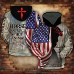 Jesus Is My Savior Horse Is My Spirit Animal American Flag 3D Hoodie Full-zip Hoodie Sweatshirt T-shirt