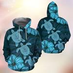 Sea Turtles Polynesian Hawaii Tribal Hibiscus 3D Hoodie Full-zip Hoodie Sweatshirt T-shirt