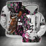 November Girl Loves Horse African Girl 3D Hoodie Full-zip Hoodie Sweatshirt T-shirt
