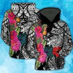 Lion Polynesian Hawaiian Hibiscus Flower 3D Hoodie