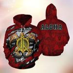 Turtle Polynesian Pattern Aloha 3D Hoodie Full-zip Hoodie Sweatshirt T-shirt