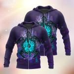 Hibiscus Turtle Flower Tribal Purple 3D Hoodie Full-zip Hoodie Sweatshirt T-shirt