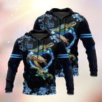Turtle Family Swimming Heart Shape 3D Hoodie Full-zip Hoodie Sweatshirt