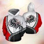 Horse Polynesian Pattern Red Black And White 3D Hoodie
