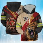 Fueled By Fire Driven By Courage Firefighter Lion 3D Hoodie