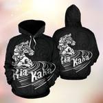 Kia Kaha Horse Polynesian Pattern Black Background 3D Hoodie