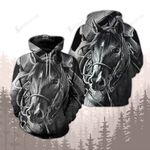 Beautiful Black Horse Photograph Black And White Style 3D Hoodie
