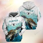 Turtle Watercolor Heartbeat Turtle Lovers 3D Hoodie