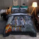 Grey Native Horse Watercolor Painting 3D Printed Bedding Set Bedroom Decor