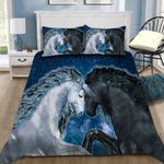 Black Horse And White Horse With Night Sky 3D Printed Bedding Set Bedroom Decor