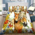 Horse Mom And Pony With Butterflies And Flowers 3D Printed Bedding Set Bedroom Decor