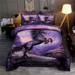 Purple Horse Galloping With Mountain 3D Printed Bedding Set Bedroom Decor