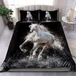 White Horse Running In Black Background 3D Printed Bedding Set Bedroom Decor