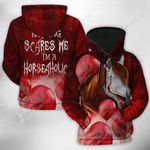 The Scary Horse With Red Balloons In Horror Film Halloween 3D Hoodie Full-zip Hoodie Sweatshirt T-shirt