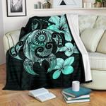Hibiscus Plumeria Mix Polynesian Turquoise Turtle Fleece Blanket