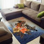 Polynesian Turtle Hibiscus Sea Shell Area Rug Home Decor