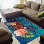 Turtle Polynesian Hibiscus Polynesian Blue Area Rug Home Decor