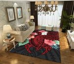 Hibiscus And Sea Turtle Area Rug Home Decor