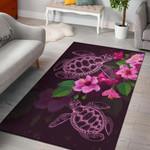 Hawaii Turtle Hibiscus Pink Simple Area Rug Home Decor