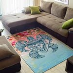 Hawaii Turtle Ohana Stary Night Hibiscus Area Rug Home Decor