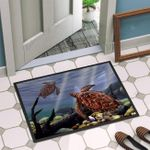 Sea Turtle Couple Swimming Underwater Doormat Home Decor