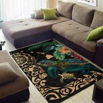 Hawaii Tiki Polynesian Turtle Mix Hibiscus Gold Area Rug Home Decor