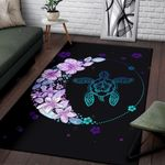 Hawaiian Hibiscus Plumeria Turtle Colorful Flower Area Rug Home Decor