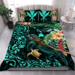 Turtles Kanaka Maoli Polynesian Plumeria Banana Leaves Hawaiian Bedding Set Bedroom Decor