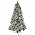 Flocking Tied Light Artificial Christmas Tree 7.5ft Automatic Tree Structure for Christmas Holiday Decor