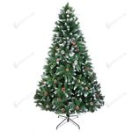 Artificial Christmas Tree 6ft 920 Tips Flocking Spray White Tree Plus Pine Cone For Christmas Holiday