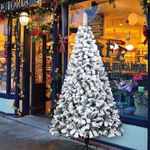 Snow Flocked Hinged Artificial Christmas Tree 7ft 1300 Tips Christmas Holiday Decoration w/Metal Stand