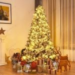Snow Flocked Hinged Artificial Christmas Tree High Quality PVC Realistic Appearance 6Ft 600 Branch Tips For Christmas Holiday