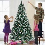 Flocked Artificial Christmas Tree 7ft with Berries and Pine Cones For Home Decoration Christmas Holida