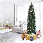 Towinle Artificial Christmas Tree 7.5ft Pointed Pvc Pen Holder Pencil For Christmas Holiday Decor